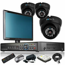 3 x Professional Camera Full HD 4 Channel DVR CCTV Package 4TB HDD with Monitor