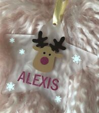 Personalised Christmas Tree Decorations - Reindeer - Frosted/ Glitter Star Shape