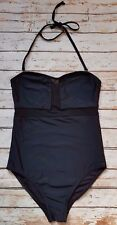 New Paperdolls Mesh Detail Bandeau One Piece Swimsuit Black Ibiza Marbella SE29