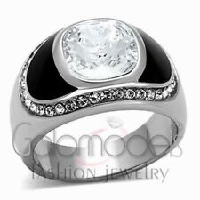 A770 SPARKLING CLEAR SIMULATED DIAMOND 316L STAINLESS STEEL HIGH POLISHED RING