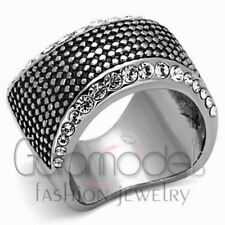 A769 SPARKLING CLEAR SIMULATED DIAMOND 316L STAINLESS STEEL HIGH POLISHED RING