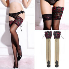 Sexy Women Sheer Lace Top Hosiery Lace Up Thigh-Highs Over Knee Stockings Socks