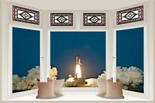 Huge 3D Bay Window Space Shuttle Discovery Launch View Wall Stickers Mural 859