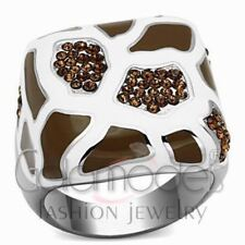 A2039 SMOKE COLOR SIMULATED DIAMOND 316L STAINLESS STEEL HIGH POLISHED RING