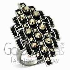 A2471 SIMULATED BLACK DIAMOND 316L STAINLESS STEEL HIGH POLISHED RING