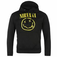 Nirvana Official Smiley Pullover Hoody Mens Black Hooded Sweatshirt Sweater