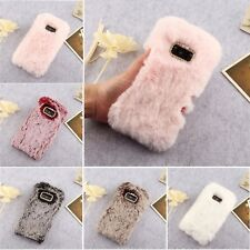 Crystal Plush Case Soft Fluffy Rabbit Fur Phone Cover For Various Samsung Models