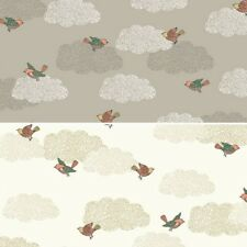Doodle Days Flying High Little Birds In Clouds 100% Cotton Fabric (Makower)