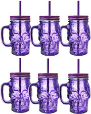 6 X PURPLE GLASS SKULL CUPS MUG WITH STRAW 13CM HALLOWEEN DRINKING TANKARD 300ML