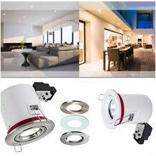 1/ 4 / 6 X FIRE RATED Fixed GU10 IP20 Downlights 3 Colours Bayonet Ring