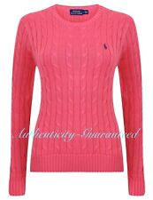 Ralph Lauren Women's Ladies Cable Knit Cotton Crew Jumper Pink S - XL RRP £110