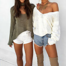 Women Long Sleeve V-Neck Casual Sweater Jumper Knit Tops Blouse Shirts Pullover