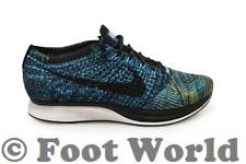 Mens Nike Flyknit Racer - 526628 405 - Blue Yellow Green White Black Trainers