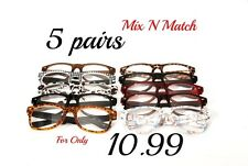 5 Pairs Timeless Fashion Retro Reading Glasses in 10 Pic N Mix Colours TN49
