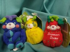 2001 VTG Popples Cutie Fruity Mini Clip On Plush Toy NWT LOT of Rare (lot 1)