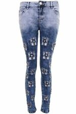 Womens Light Denim Acid Wash Distressed Ripped Jewell Stat Skinny Fit Jeans