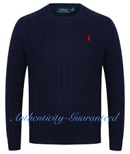 Ralph Lauren Men's Crew Neck Cable Knit Cotton Jumper Navy S - XXL RRP £119 SALE