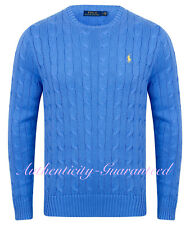 Ralph Lauren Men's Crew Neck Cable Knit Cotton Jumper Blue S - XXL RRP £119
