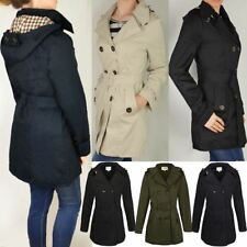 WOMENS LADIES DOUBLE BREASTED MAC BELTED COAT CANVAS SMART JACKET TRENCH PARKA