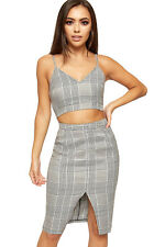 Womens Houndstooth Check Print Strappy Bralet Midi Skirt Suit Ladies Co-Ord Set