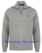 Ralph Lauren Polo Men's Half Zip Sueded Rib Cotton Jumper Grey S - XXL RRP £120