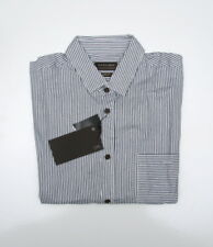 Zara Man's  Slim Fit long sleeved, brown button stripe shirt 100% cotton  size M