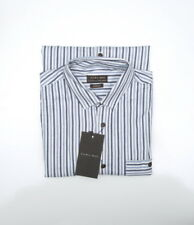 Zara Man's  Slim Fit long sleeved, brown button stripe blue shirt 100% cotton