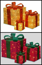 3x led light up glitter christmas presents gift boxes parcel xmas decoration uk