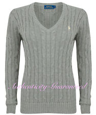 Ralph Lauren Women's Ladies Cable Knit Cotton V Neck Jumper Grey S - XL RRP £110
