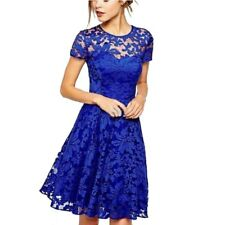 O-Neck Casual Women Floral Lace A-line Dresses Short Sleeve Soild Colour ....