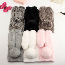 Soft Fluffy Furry Rabbit Fur Glitter Crystal Case Phone Cover For Samsung Galaxy