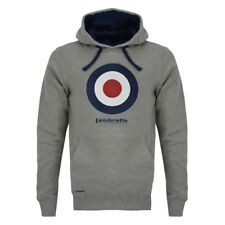 LAMBRETTA CLOTHING MOD TARGET HOODED SWEATSHIRT MELANGE GREY, NEW! MOD-SKINHEAD