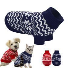 Small Dog Knitted Jumper Chihuahua Clothes Pet Puppy Cat POLO Neck Xmas Sweater