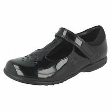 TRIXI PIP CLARKS GIRLS BLACK PATENT LIGHT UP SMART T BAR LEATHER SCHOOL SHOES