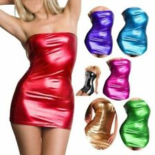 SeXy Wetlook Bandeau Mini Stretch Kleid GoGo Minikleid Lack Leder Optik XS S M