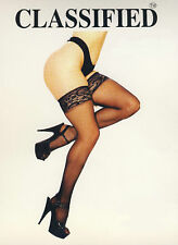 SEXY BLACK CLASSIFIED LACE TOP STOCKINGS,HOLD UPS,FANCY DRESS,COSPLAY,UNIFORM