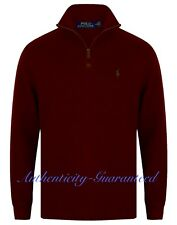 Ralph Lauren Polo Mens Half Zip Sueded Rib Cotton Jumper Burgundy S-XXL RRP £120
