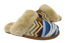 RARE New NIB Ugg Pendleton Scuffette Shearling & Wool Slippers Chestnut Tan Blue