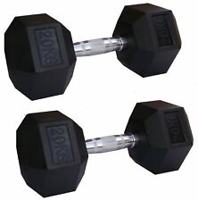EVINCO Rubber Encased Hex Hexagonal Dumbbells 1kg- 30kg Pairs Sets Gym Weights