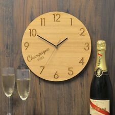 Champagne O'Clock Oak Wooden Clock - Gift for Champagne Lovers Present Idea