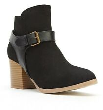 Womens Ladies Black Faux Suede High Block Heel Shoes Ankle Boots Size 4,6,8 New