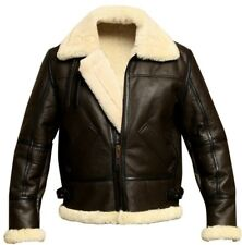 B3 Brown Bomber WWII Pilot Real Shearling Sheepskin Leather Jacket