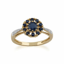 Gemondo 9 Ct Oro Amarillo 1.04 Ct Zafiro & Diamante Floral Anillo
