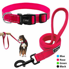 Reflective Small Large Dog Collar and Lead Set Pet Leash with Soft Padded Handle