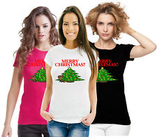 Silly Rude Fun Funny Xmas Top Merry Christmas Dog Pee Peeing  Ladies T Shirt