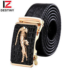 Crocodile Logo Genuine Leather Belt Luxury  High Quality Silver Gold ...