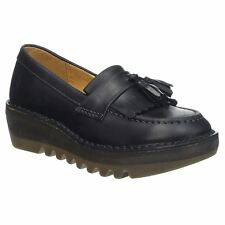 Fly London Juno Black Womens Slip on Loafer Wedge Shoes
