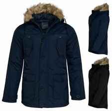 Mens Coat Zipped Fur Winter Faux Jacket rim Quilted Hooded Designer Parka UKS-XL