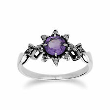 Gemondo Sterling Silver Amethyst & Marcasite February Art Deco Ring