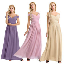 Women Long Prom Chiffon Formal Evening Cocktail Party Bridesmaid Gown Full Dress